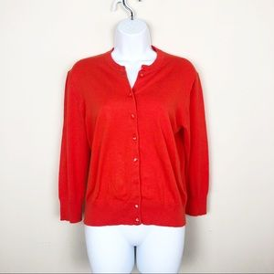 J crew • Red Cotton Jackie cardigan sweater • Med